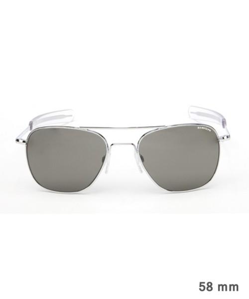 Randolph Aviator Size 58 (large) - bright chrome frame, neutral grey lenses, bayonet temples
