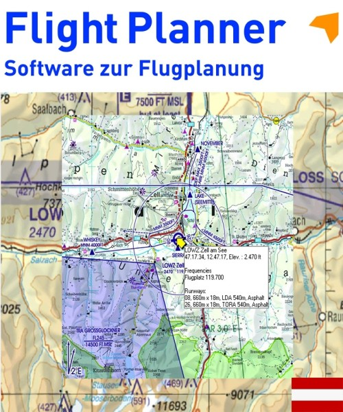 Flight Planner / Sky-Map - Trip-Kit Österreich (V500 Karte u. AIP)