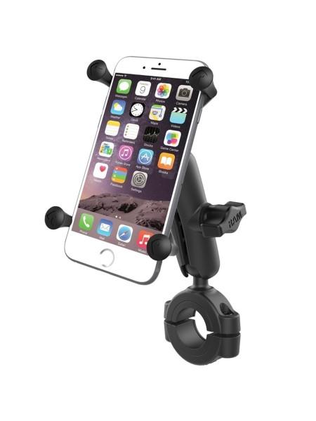 RAM Mounts Torque Motorradhalterung (Lenker/Rohre) mit X-Grip Universal Halteklammer für große Smart