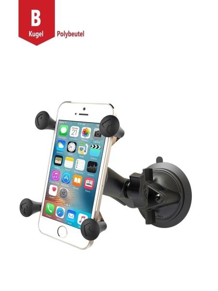 RAM Mounts Saugfusshalterung mit X-Grip Universal Halteklammer für Smartphones - mittlerer Verbindun