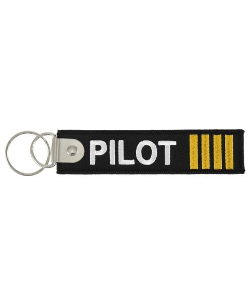Schlüsselanhänger PILOT (beidseitig) - 4 Streifen goldfarben