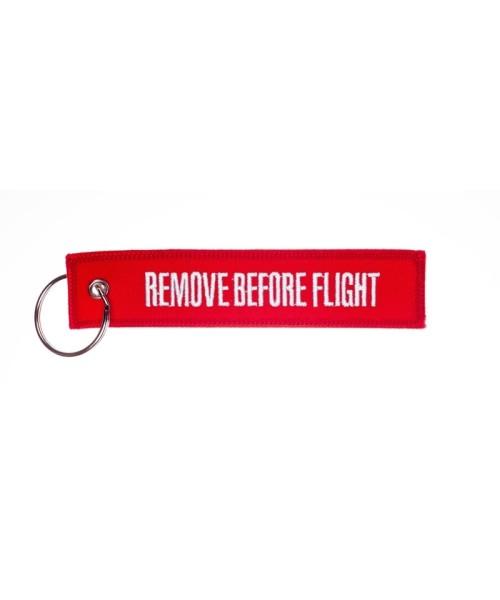 Schlüsselanhänger REMOVE BEFORE FLIGHT - rot/weiss