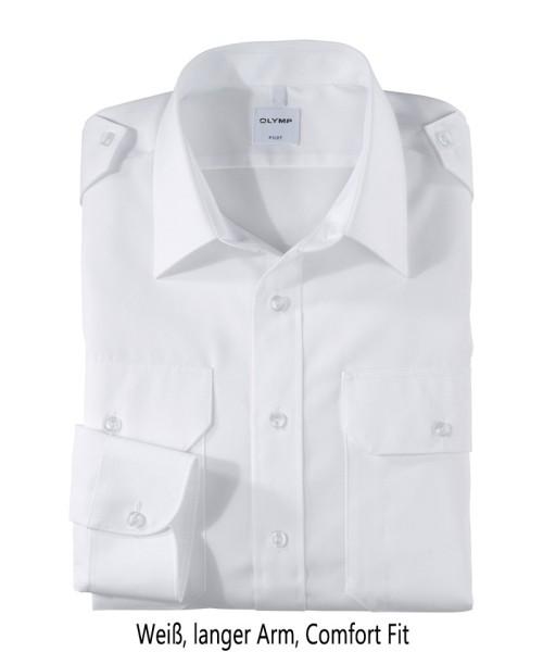 Pilotenhemd weiß - langer Arm, comfort fit
