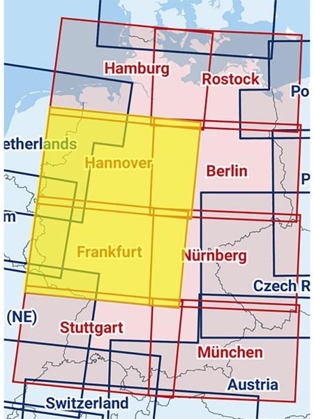 Hannover / Frankfurt - Zusammengesetzte ICAO Karte mit Folie