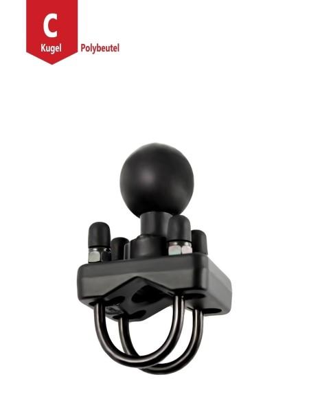 RAM Mounts Doppel-Rohrschelle mit C-Kugel (1,5 Zoll) - bis 31,75 mm Durchmesser, im Polybeutel