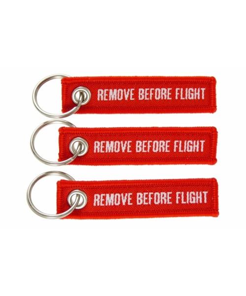 Mini-Schlüsselanhänger REMOVE BEFORE FLIGHT - 3er-Set, rot