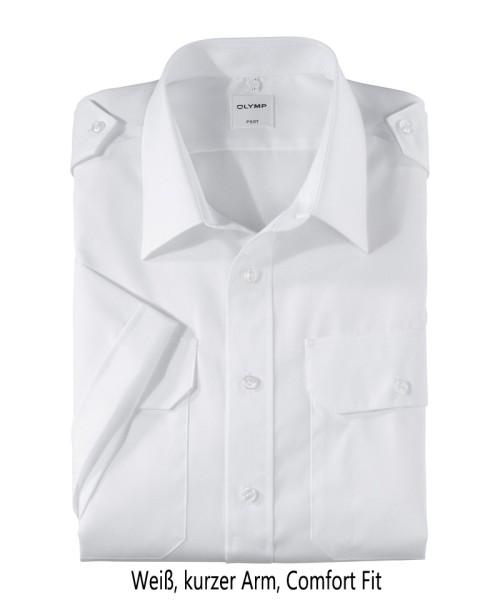 Pilotenhemd weiß - kurzer Arm, comfort fit