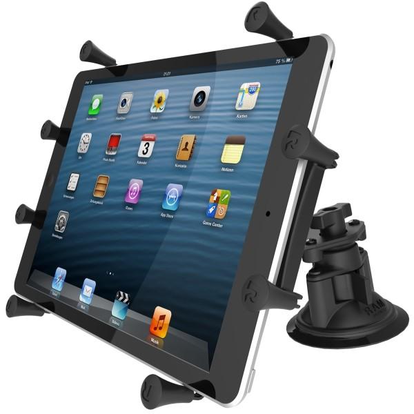 RAM Mounts Saugfusshalterung mit X-Grip Universal Halteklammer für 10 Zoll Tablets - Doppel-Saugfuss