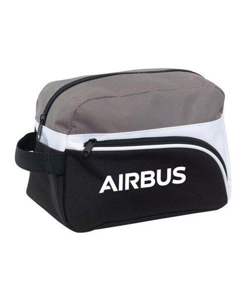 Airbus Kulturbeutel - 600D Polyester, schwarz/weiß/grau