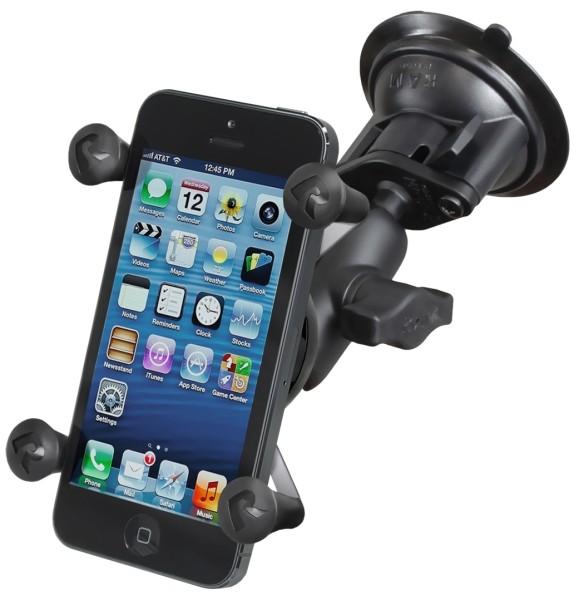 RAM Mounts Saugfusshalterung mit X-Grip Universal Halteklammer für Smartphones - kurzer Verbindungsa