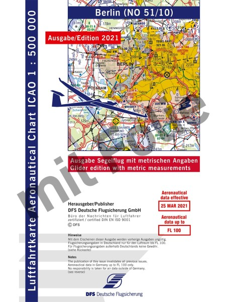 ICAO Glider Chart Germany 2021 laminated