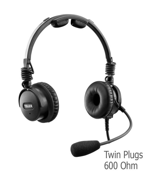 Telex Airman 8 ANR Headset - Twin Plugs, 600 Ohm