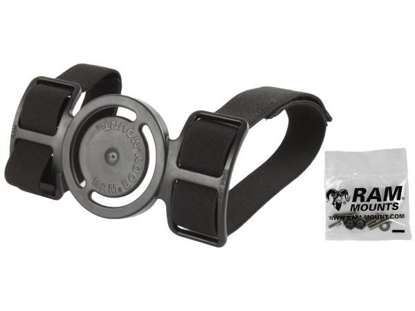 RAM Mounts Armbefestigung - mit Aufnahme für runde Basisplatte, Gummibänder, Klettverschluss, Schrau