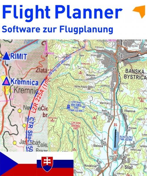 Flight Planner / Sky-Map - VFR-Karte Tschechien/Slowakei (Avion Sainer)