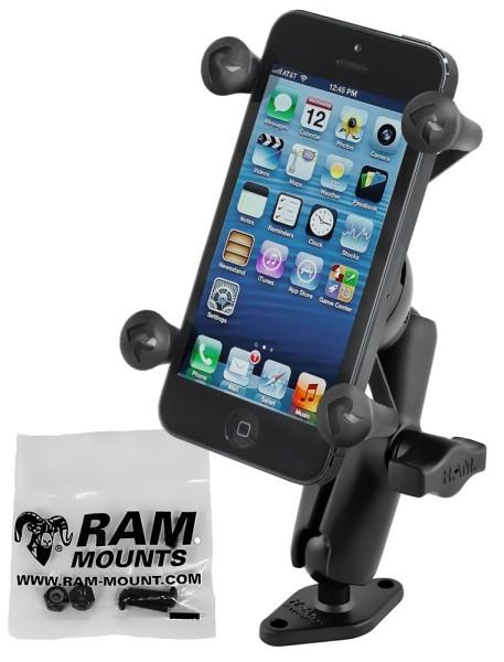 RAM Mounts Aufbau-Set mit X-Grip Universal Halteklammer für Smartphones - Diamond-Basisplatte (Trape