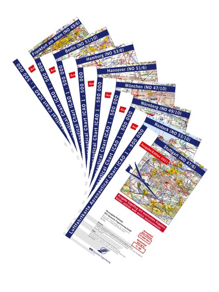 Set DFS Glider Charts Germany 2021 - paper, unfolded