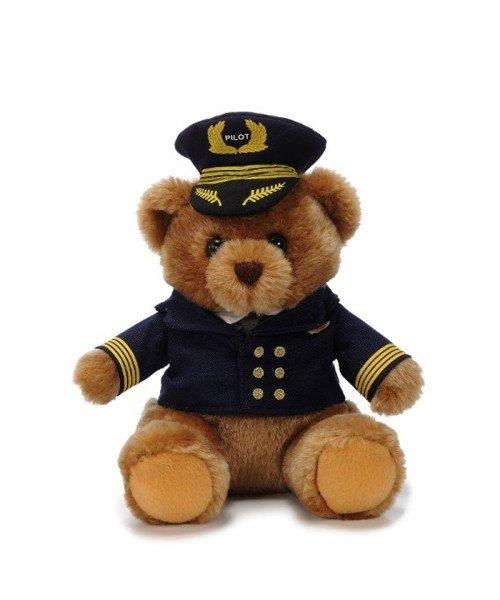 Pilotenbär mit Uniform und Mütze - ca. 22 cm, Plüsch