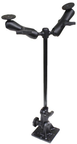 RAM Mounts Ratchet Standhalterung mit Doppelhalterung (AMPS) - Stab ca. 450 mm, C-Kugel Aufnahmen (1