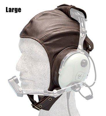 Leather Headset Flying Helmet, brown - Large
