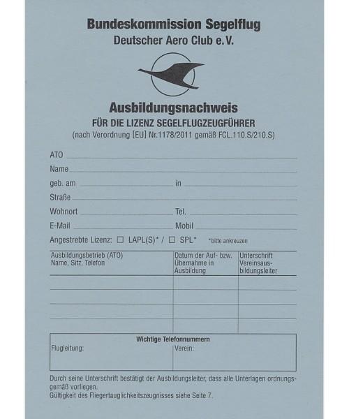 Training Certificate - for glider license (German)
