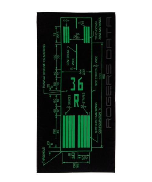 Rogers Data Badetuch Runway Markings - 100% Baumwolle, 90 x 180 cm, schwarz/grün