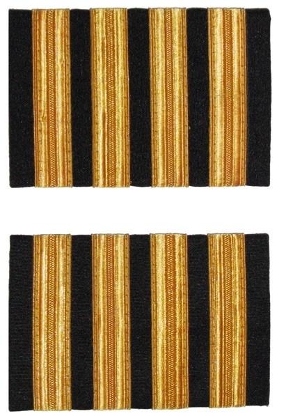 Premium Rangabzeichen Flugkapitän - Schulterstreifen für Piloten, vier Streifen, goldfarben
