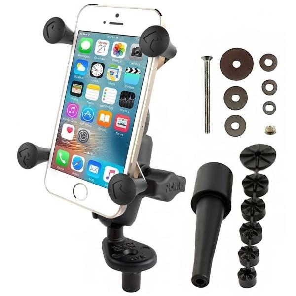 RAM Mounts Motorradhalterung mit X-Grip Universal Halteklammer für Smartphones - Lenkerkopf-Adapter,