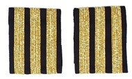 Rangabzeichen Co-Pilot - Schulterstreifen für Piloten, drei Streifen, goldfarben
