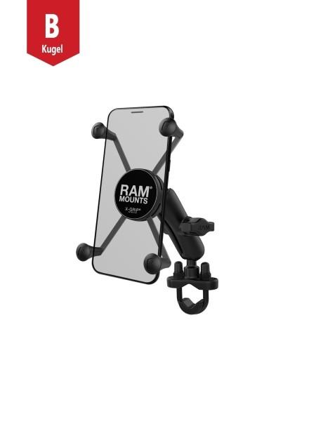 RAM Mounts Lenkerhalterung mit X-Grip Universal Halteklammer für große Smartphones (Phablets) - Klem