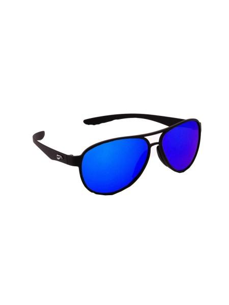 Flying Eyes Sonnenbrille Kestrel Aviator - Rahmen matt schwarz, Gläser saphirblau (verspiegelt)