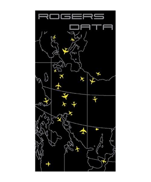 Rogers Data Badetuch Oceanic Control - 100% Baumwolle, 90 x 180 cm, schwarz mit gelben Flugzeugsymbo