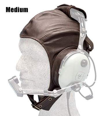 Leather Headset Flying Helmet, brown - Medium