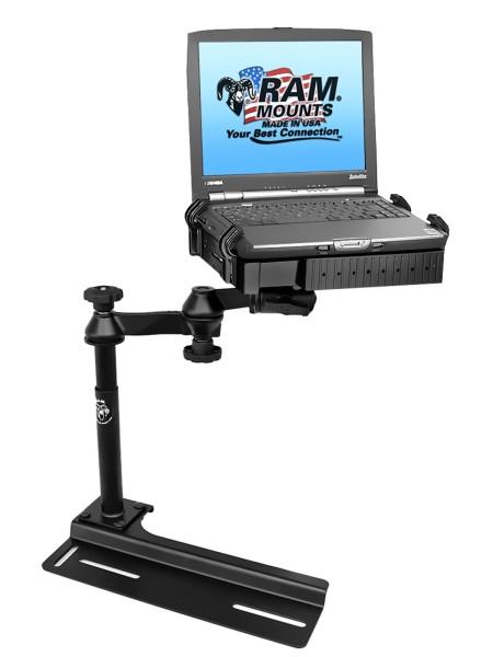 RAM Mounts Laptop-Halterung für Fahrzeuge - Fahrzeug-Basis, Doppel-Schwenkarm, Tough-Tray Halteschal