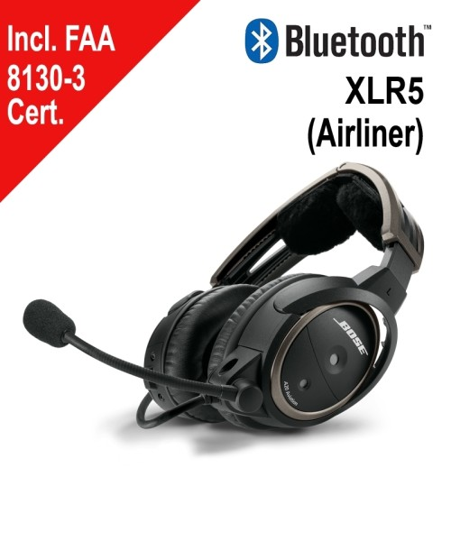 BOSE A20 Aviation Headset - XLR5 Plug, Straight Cord, Bluetooth, incl. FAA 8130-3 Certificate