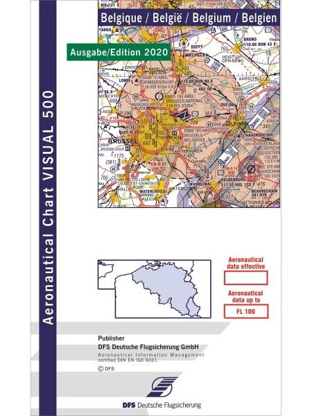 DFS VFR Chart Belgium 2020/2021 (Visual 500), paper, folded