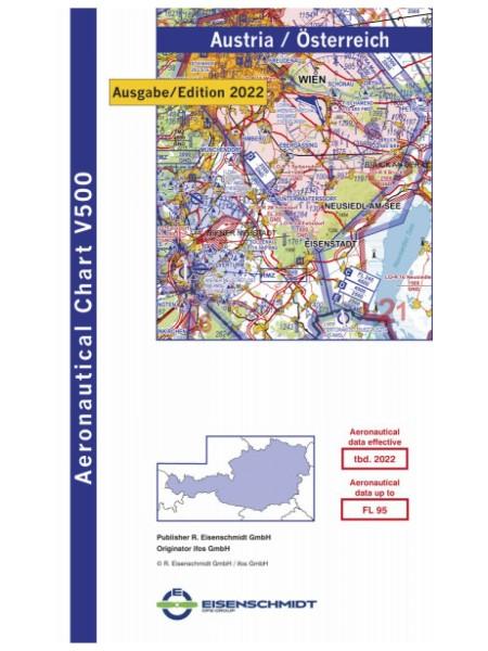 Österreich DFS VFR-Karte (Visual 500) - Papier ohne Folie, gefaltet