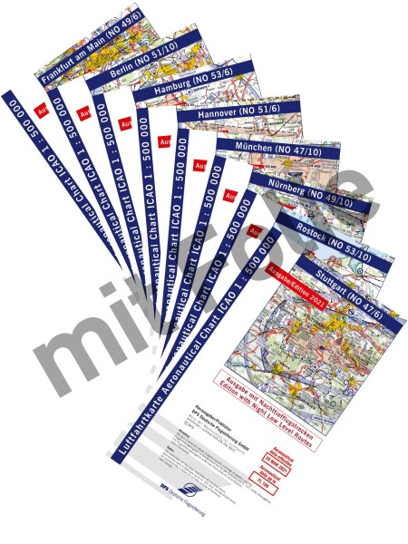 Set ICAO Charts Germany 2021 with Night Low Level Routes - laminated, folded