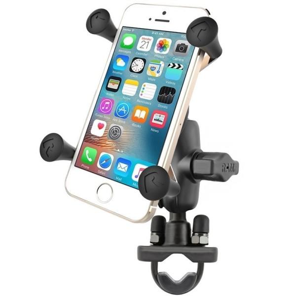 RAM Mounts Halterung für Lenker/Rohre mit X-Grip Universal Halteklammer für Smartphones - Klemmschel