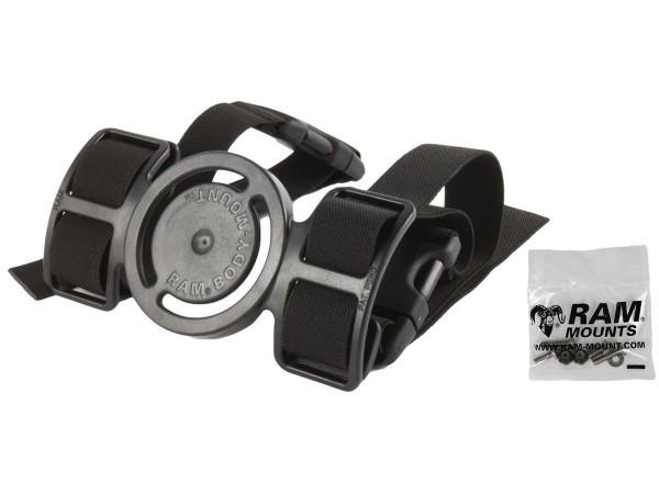 RAM Mounts Beinbefestigung - mit Aufnahme für runde Basisplatte, Gummibänder, Klettverschluss, Schra