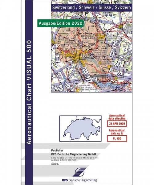 DFS VFR-Karte Schweiz 2020/2021 (Visual 500), Papier, gefaltet