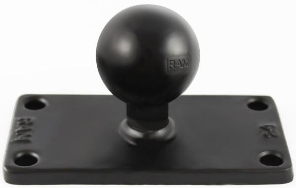 RAM Mounts rechteckige Basisplatte (50,8 x 101,6 mm) mit C-Kugel (1,5 Zoll) - im Polybeutel