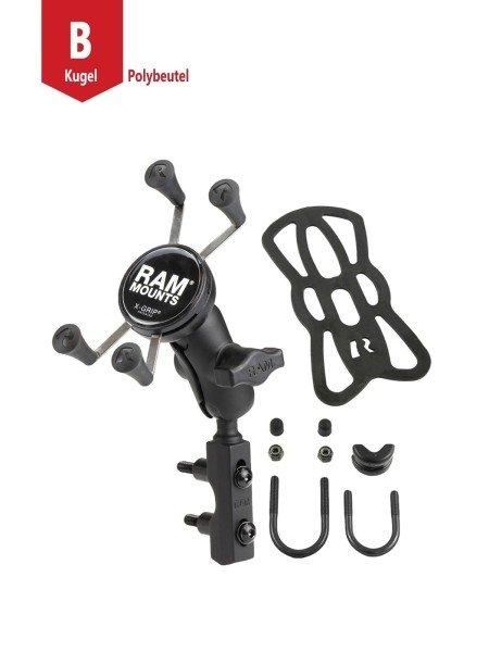 RAM Mounts Motorradhalterung mit X-Grip Universal Halteklammer für Smartphones - Basisbefestigung (L