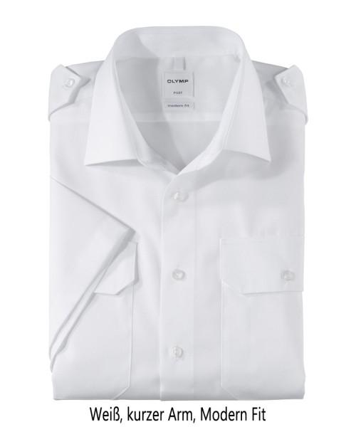 Pilotenhemd weiß - kurzer Arm, tailliert, modern fit