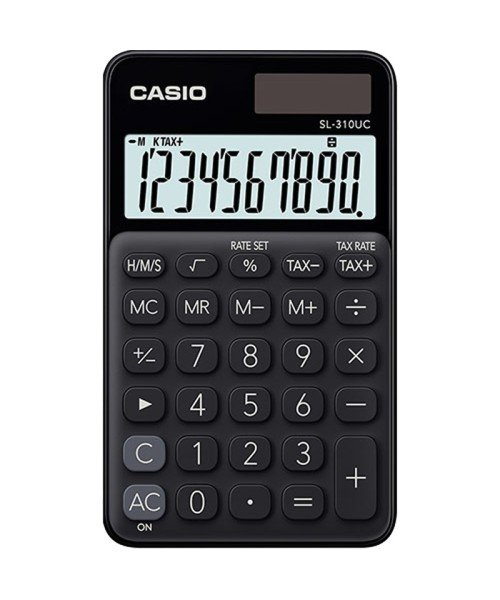 Casio Calculator SL-310UC - Time Calculation, 10 Digits Display, Solar/Battery, black