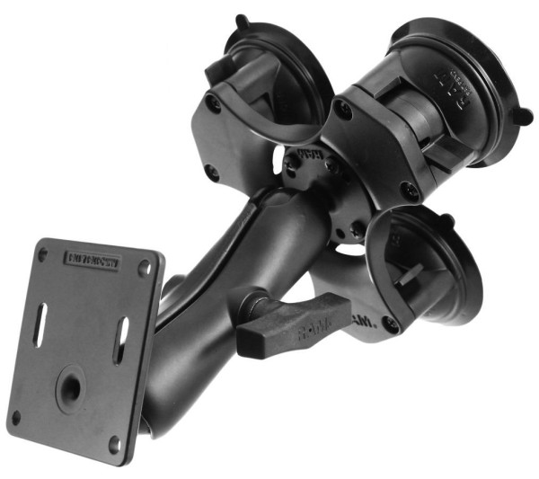 RAM Mounts Triple-Saugfuss mit VESA-Anbindung - mittlerer Verbindungsarm, runde Basisplatte, VESA-Pl