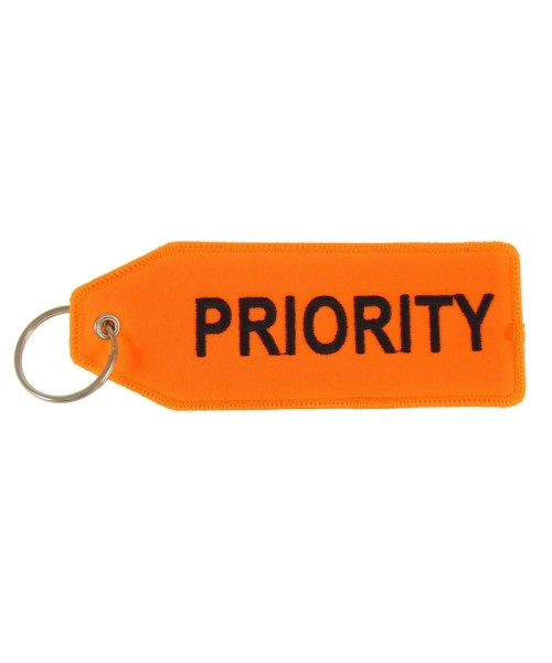 Key Ring PRIORITY (two-sided) - neon orange