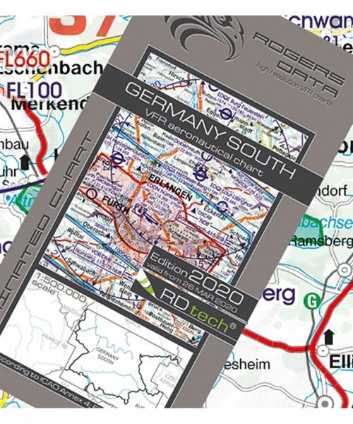 Deutschland Süd - Rogers Data VFR Karte, 1:500.000, laminiert