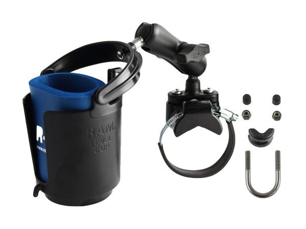 RAM Mounts Rohrhalterung mit Getränkehalter - mit Rohrschelle, B-Kugel (1 Zoll), im Polybeutel