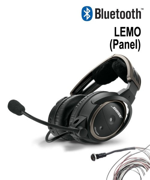 BOSE A20 Aviation Headset - LEMO Plug (Panel), Straight Cord, Bluetooth, incl. Wiring Harness
