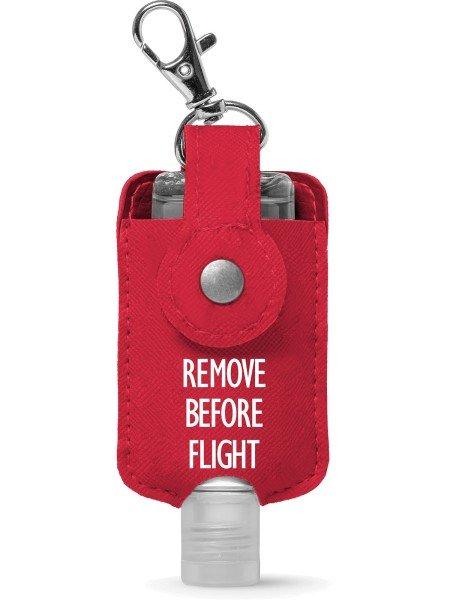 Hygiene-Schlüsselanhänger REMOVE BEFORE FLIGHT - mit 50 ml Desinfektionsgel